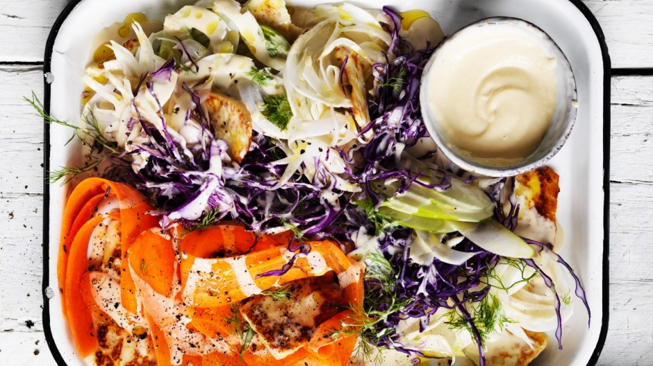 Colourful cabbage coleslaw.