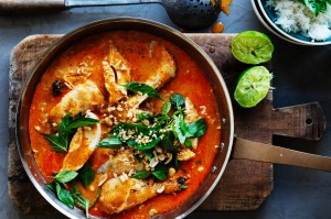 Quick red curry of chicken.
