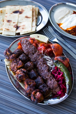 A mixed shish plate at New Star Kebab, Auburn.