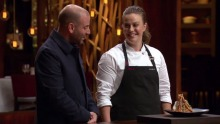 Kylie Millar with her Birds Nest dessert creation on MasterChef earlier this year.
