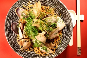 Go-to dish: Pipis with ginger and shallot and noodles.