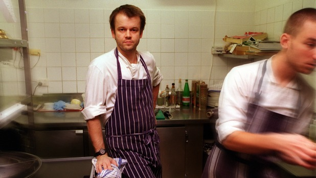 Strode in his kitchen at Pomme.