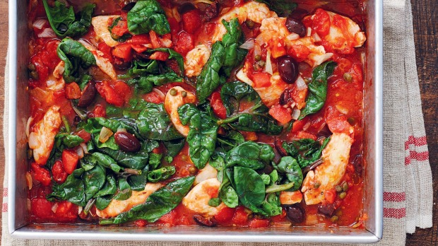 Raid the pantry for this one-pan chicken puttanesca.