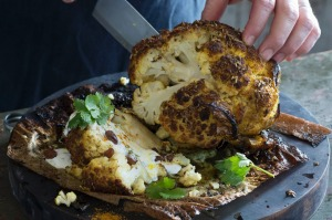 Brined and baked whole cauliflower.