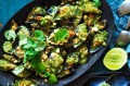 Green Thai curry mussels with cashew crumb.