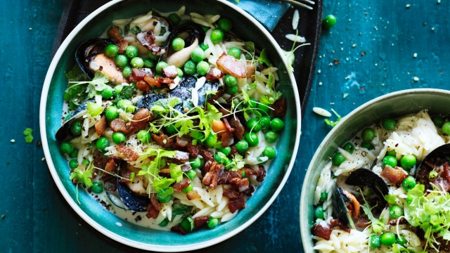 Jill Dupleix's mussels with risoni, peas and bacon.
