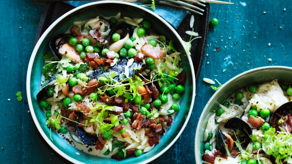 Rice-shaped risoni pasta is equally good in a dish with mussels and peas, or replacing macaroni in a cheese dish.