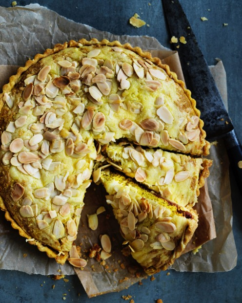 Dan Lepard's cheddar and onion almond tart combines elements of a classic ploughman's platter <a ...