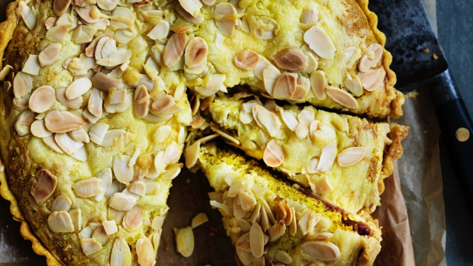 This cheddar and onion almond tart combines elements of a classic ploughman's platter.
