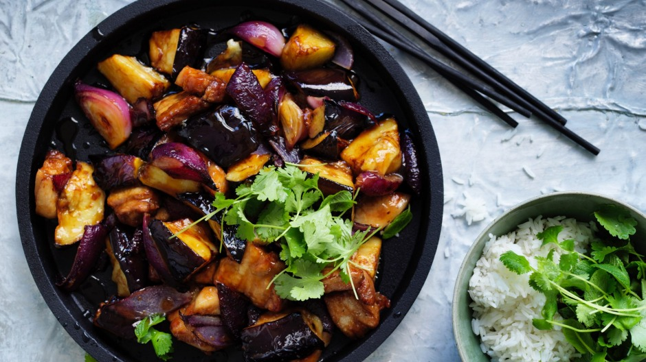 Adam Liaw's pork belly with eggplant and black vinegar.