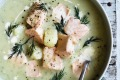 Salmon and fennel soup.