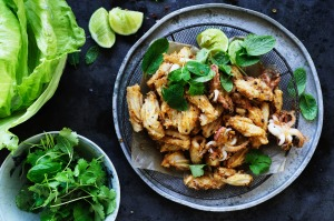 Chilli salt and pepper squid lettuce cups.