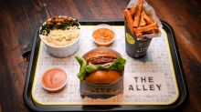 Vegan beet steak burger, fries and macaroni 'cheese' at the Alley.