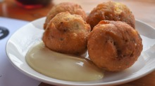 Savoury douhnuts: Fritole con l'acciughe with lemon mayonnaise.