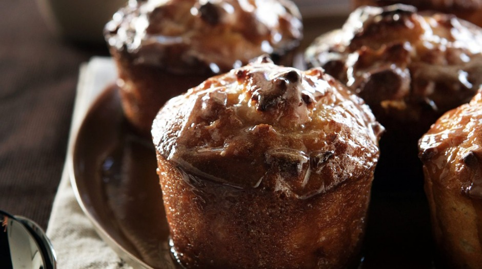 Sticky pear puddings.