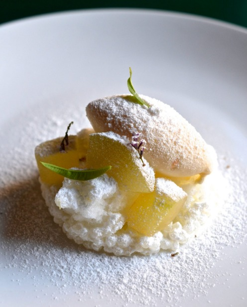 Pear, yuzu and salted vanilla at Italo-Japanese restaurant Fico.