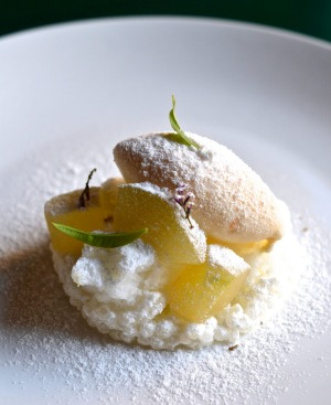 Pear, yuzu and salted vanilla at Fico, Hobart.
