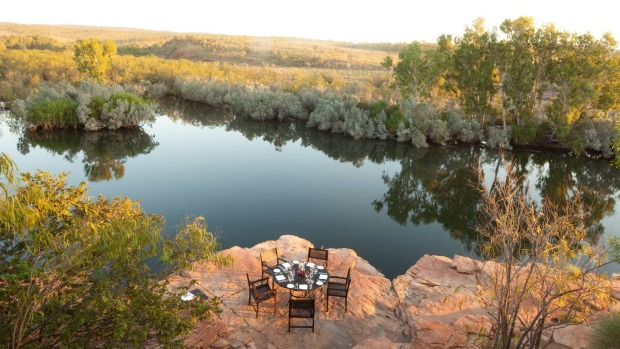 Dine overlooking Chamberlain Gorge at El Questro Homestead.