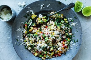 Cannellini bean salad with lime and haloumi.