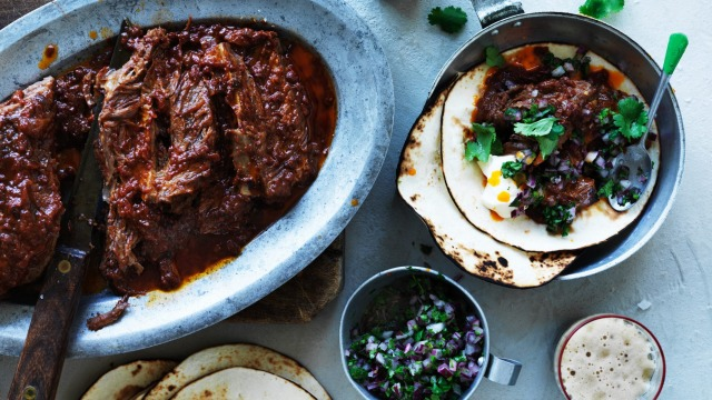 Stout-braised short rib taco with red onion salsa.