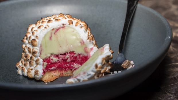 Pistachio and raspberry bombe Alaska.