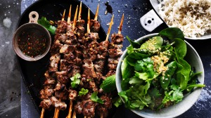 Neil Perry's beef sticks slicked with spicy tamarind marinade.