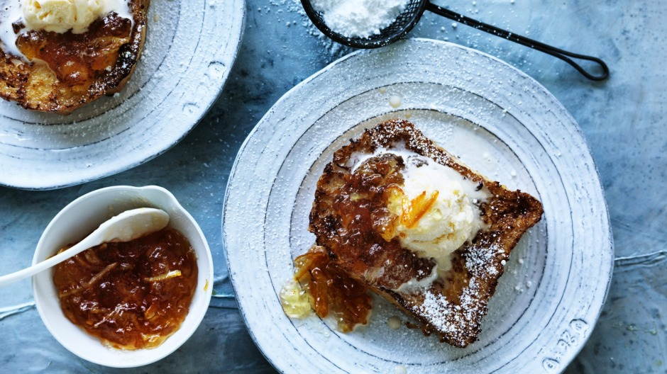 Caramel french toast with marmalade.