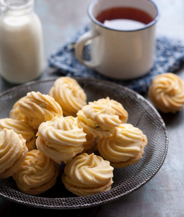 Melting moments sandwiched with tangy passionfruit icing.