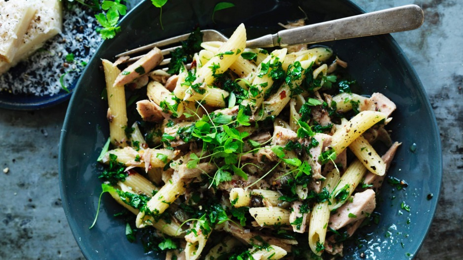 Penne with preserved chilli tuna.