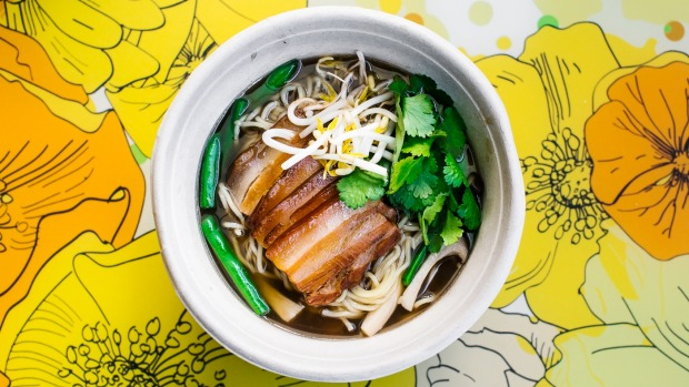 Shanghai red braised pork belly with pork broth and noodles.