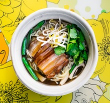 Bing's Shanghai red braised pork belly with pork broth and noodles.