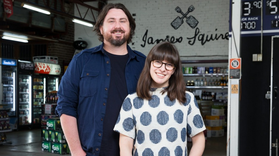 Mike Eggert and Jemma Whiteman at the Mascot bottle shop site of Mr Liquor's Dirty Italian Disco.