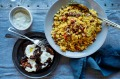 Moroccan couscous with harissa glazed eggplant.