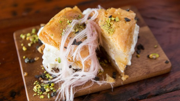 Ice-cream sandwiched between baklava.