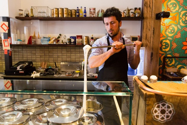 Harun Yalcin stretching Turkish ice-cream at his cafe Cuppa Turca in Northcote.