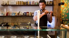 Harun Yalcin stretching Turkish ice-cream at Cuppa Turca in Northcote.