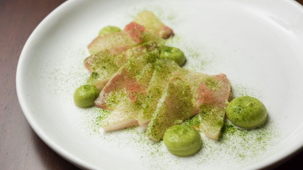 Cobia sashimi, pickled ginger and avocado.