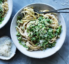Chicken and broccoli linguine.