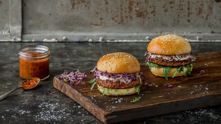 Essento insect burgers contain mealworms, rice and vegetables.