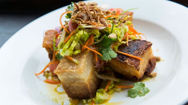 Pork belly salad served at Hanoi Mee in Port Melbourne.