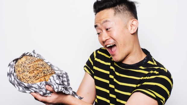 Lovingly crafted: Benjamin Law with his finished sourdough loaf.