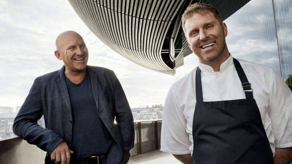 Matt Moran and Cory Campbell on the deck of Barangaroo House in Sydney.