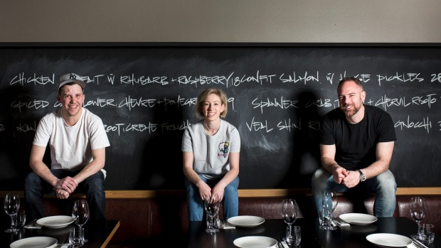 Eightysix head chef Michael Rees, manager Dash Rumble and owner Gus Armstrong.