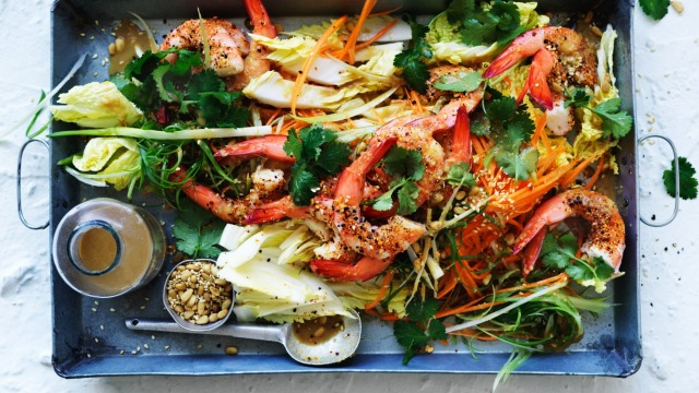 Prawn and cabbage salad with sesame dressing.