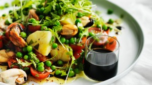 Neil Perry's mussel, cherry tomato, pea and potato salad.