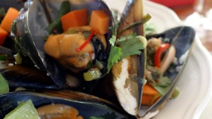 Thai-style mussels with sweet potato.