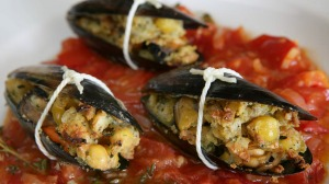 Steve Manfredi's roast mussels with chickpeas.