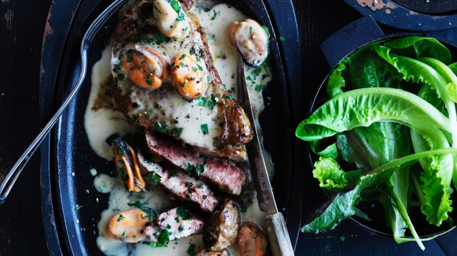 Surf 'n' turf: Steak with mussel gravy.