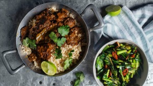Perfect pairing: Beef rendang curry and turmeric greens.
