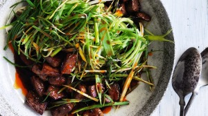 Spring stir-fry with lamb with spring onions.